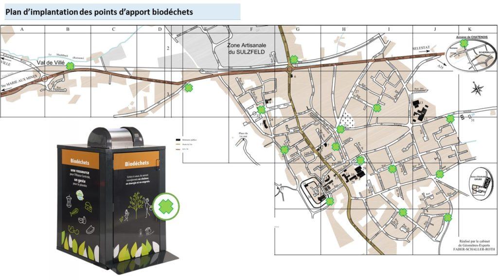 Plan d'implantation des bornes biodechets dans Châtenois