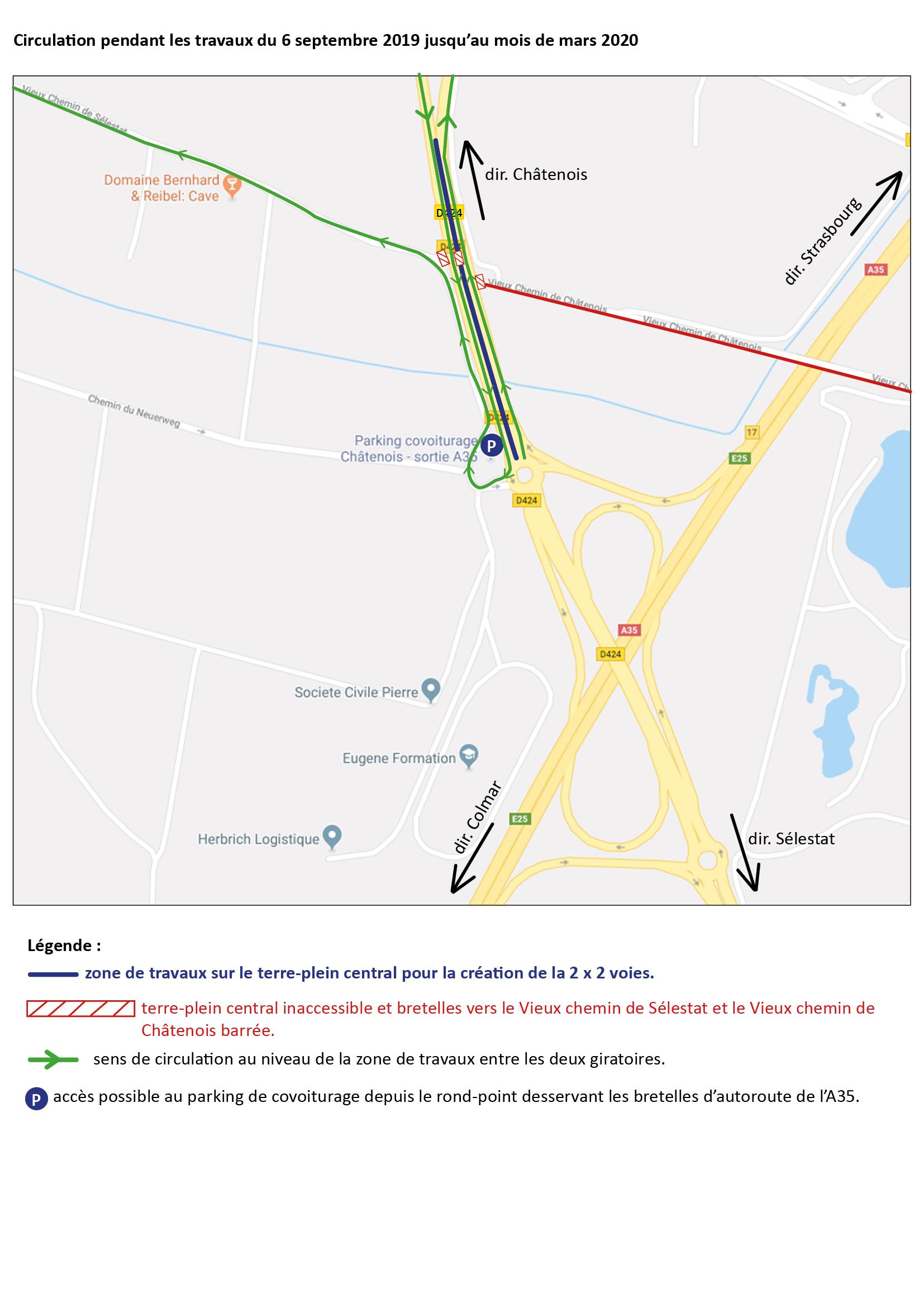Carte route barree vieux chemin 07-09-2019 à mars 2020