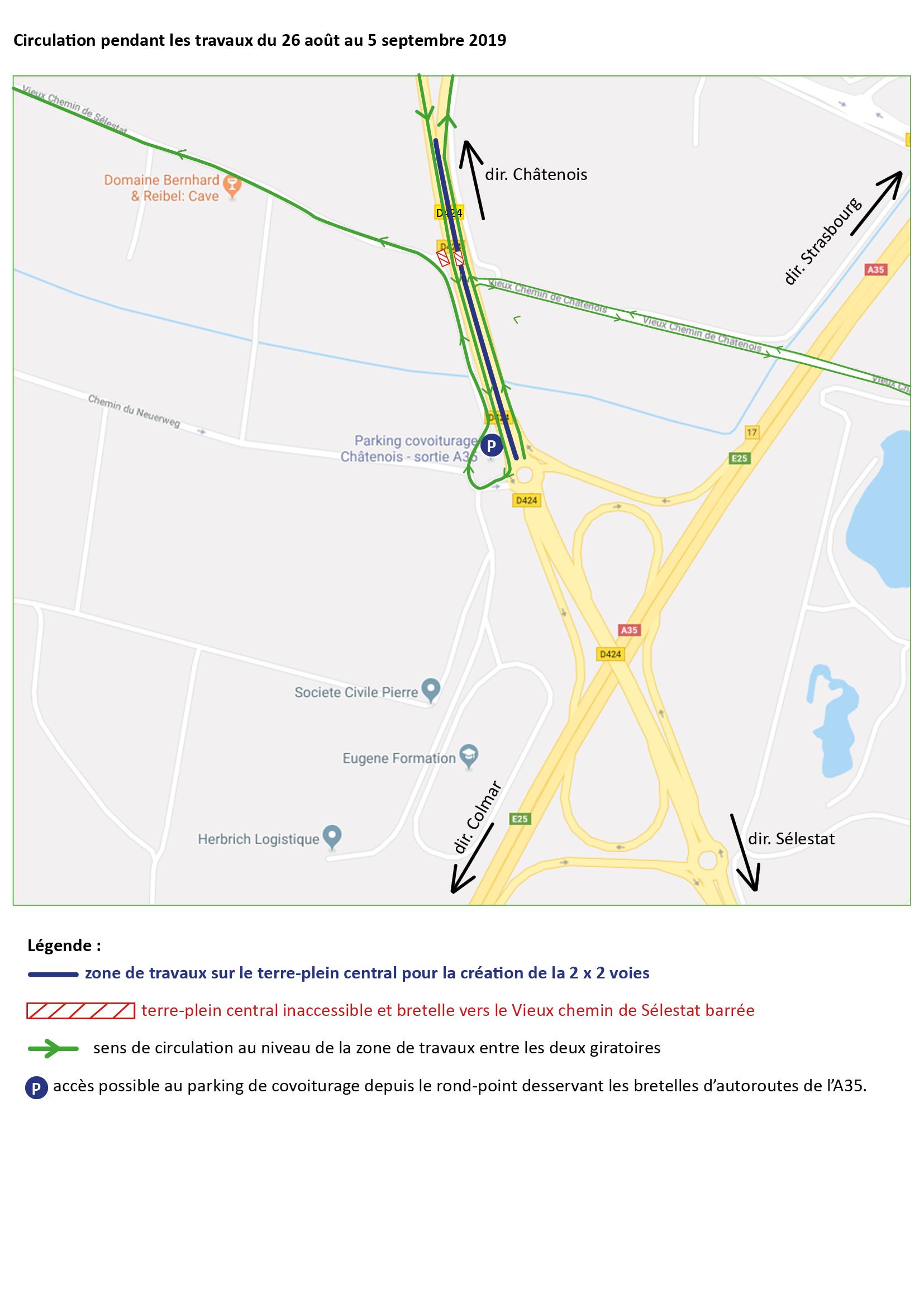 Carte route barree vieux chemin 26-08 au 05-09-2019