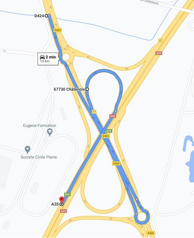 Travaux bretelle Châtenois vers A35 dir Colmar 2 au 6 novembre 2020