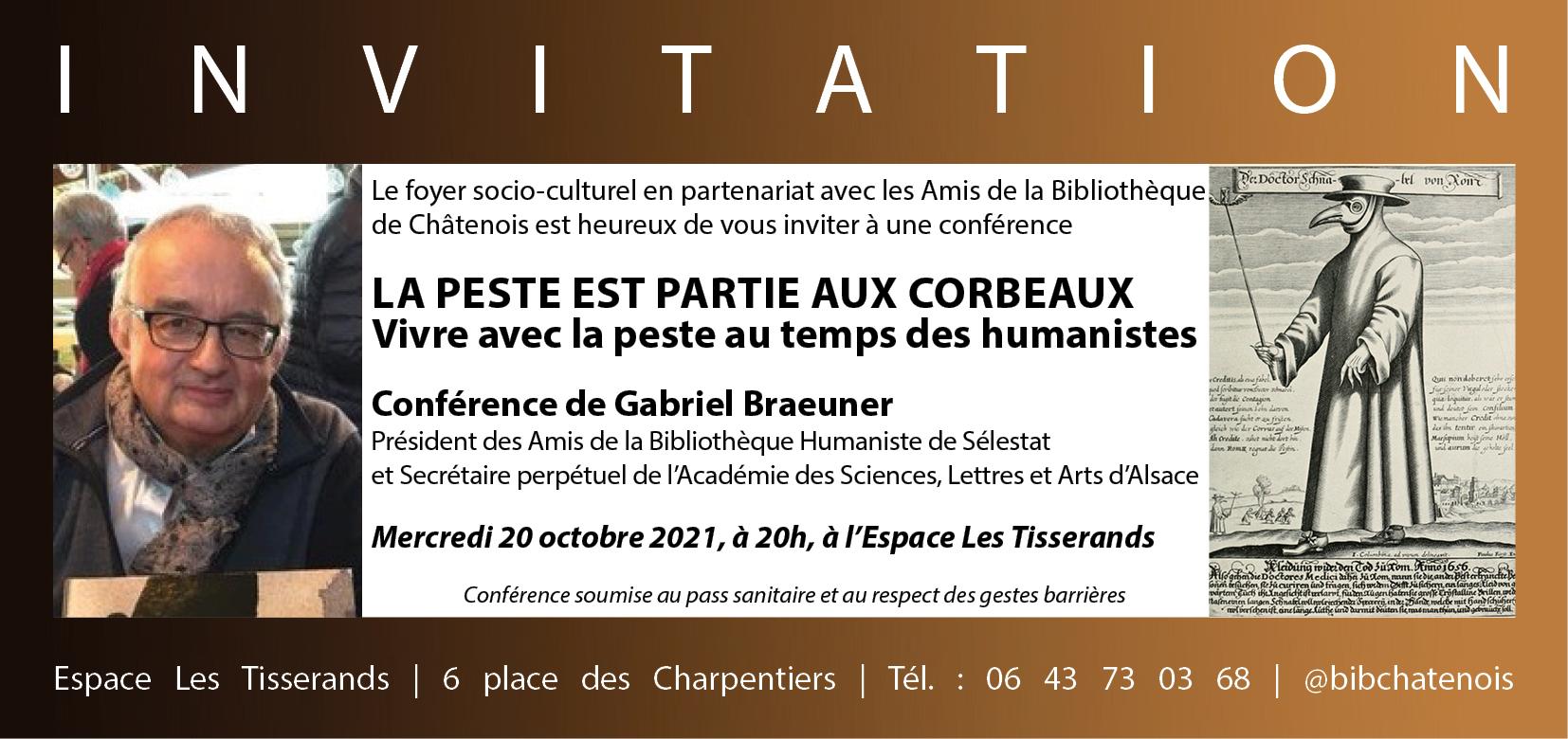 Invitation conférence Peste de Gabriel Braeuner